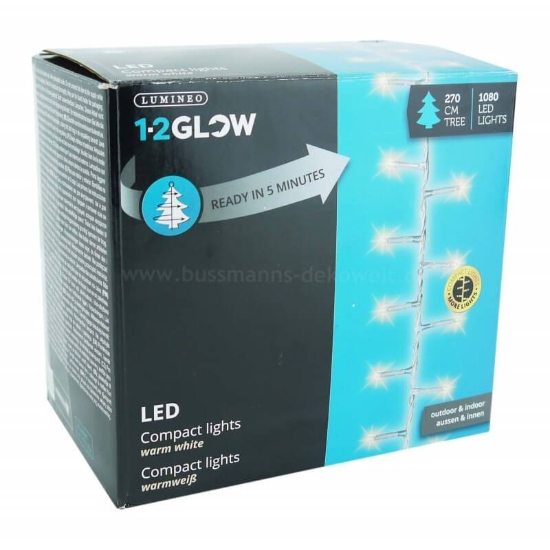 Guirlande lumineuse sapin de Noel 9 branches 1080 LED blanc chaud