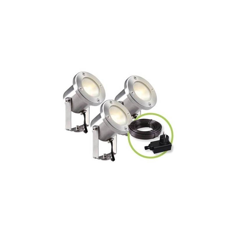 Lot de 3 spots led ext rieur sur pied blanc chaud 3w inox for Spot exterieur noel