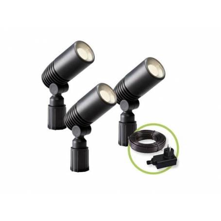 Lot de 3 spots LED extérieur noir sur pied design blanc chaud 2W