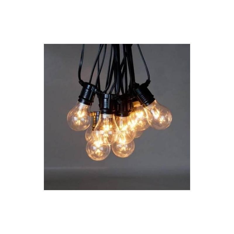 guirlande guinguette 5m ampoule led filament verre