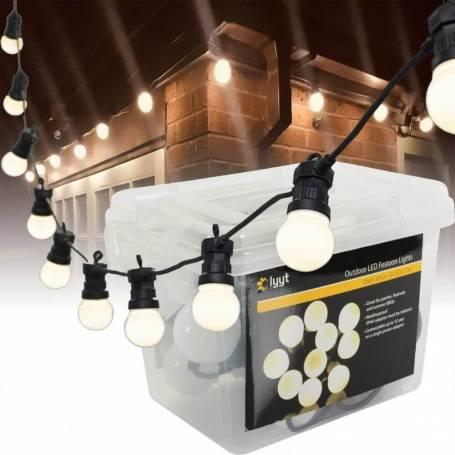 Guirlande lumineuse festive guinguette 5m 10 globes blanc chaud