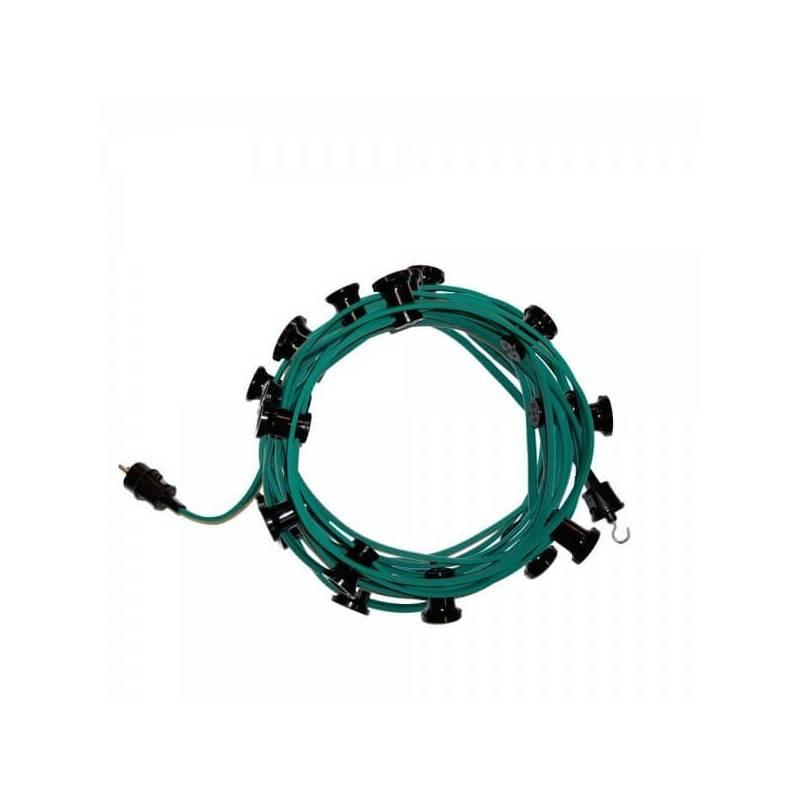 Guirlande Guinguette cable vert 10m 15 douilles E27 connectable