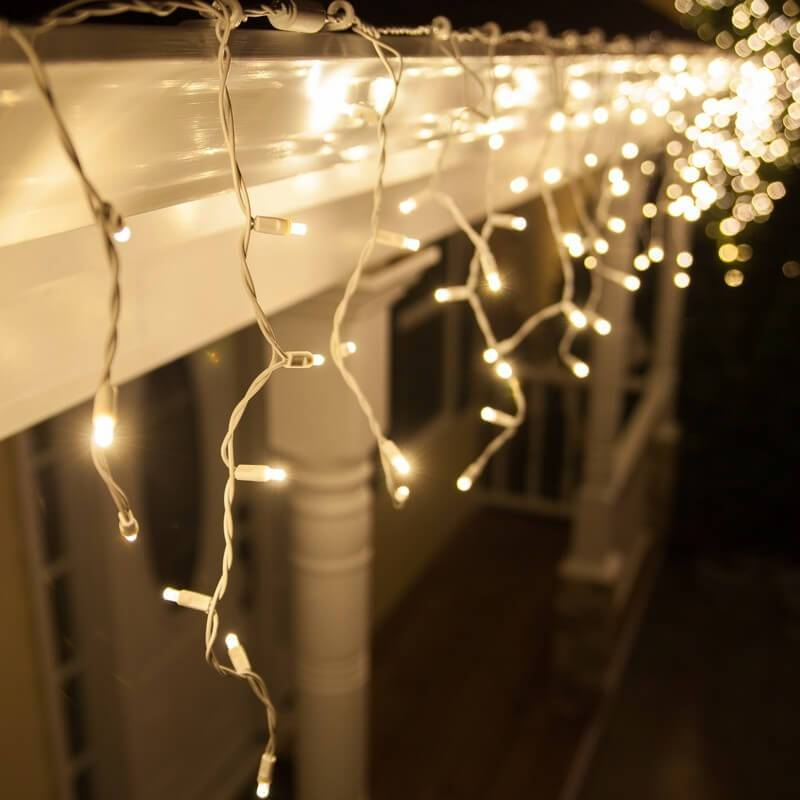 Guirlande LED stalactite 3M blanc chaud raccordable professionnelle
