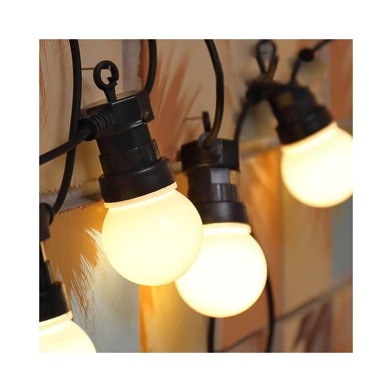 guirlande guinguette led 10m 20 globes blanc chaud ext rieur. Black Bedroom Furniture Sets. Home Design Ideas