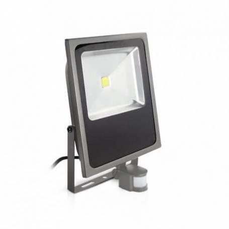 Projecteur plat led gris détecteur de mouvement extérieur 80w blanc chaud