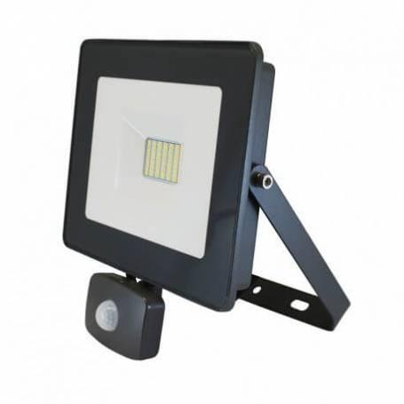 Projecteur LED 230v 30W blanc naturel plat gris détecteur de mouvement