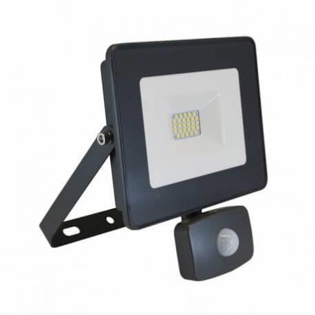 Projecteur led 230v 20 watt blanc naturel plat gris détecteur de mouvement