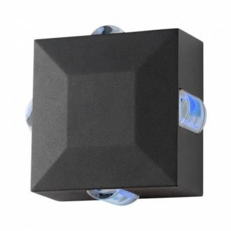 Applique murale carré led 6w diffuseur bleu gris extérieur professionnelle