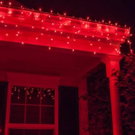 Guirlande LED stalactite 9M rouge raccordable professionnelle