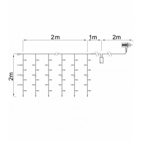 dimensions rideaux lumineux led Blanc Chaud 2X2 mètres