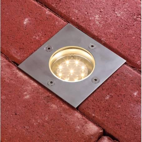 Spot led encastré extérieur sol carré acier inoxydable blanc chaud par 3 professionnel