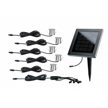 Kit 5 mini spots extérieur sol système alimentation solaire