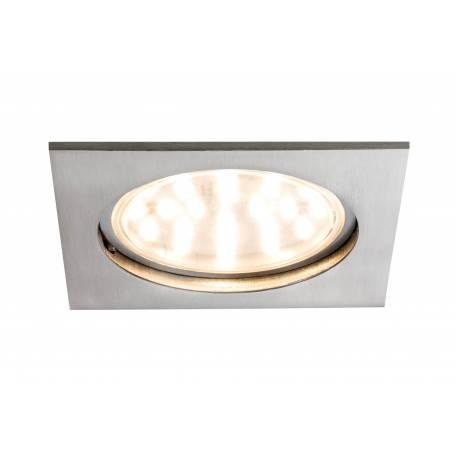 Spot led dimmable encastrable carré acier brossé 14w blanc chaud IP44