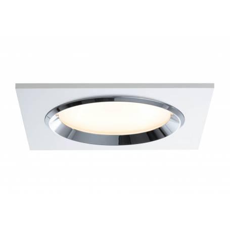 Kit 3 Spots led encastrable design carré 150mm blanc et chromé 8W dimmable