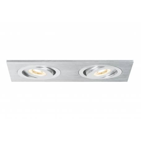 Spot double encastrable led orientable rectangle alu brossé 2X3W professionnel