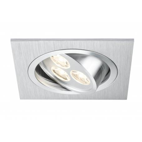 Spot led 3 points encastrable orientable carré alu brossé 3W