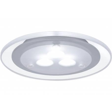 Kit de 3 spots led encastrable extra plat pour meuble 100mm chrome mat / acrylique transparent 3W blanc froid