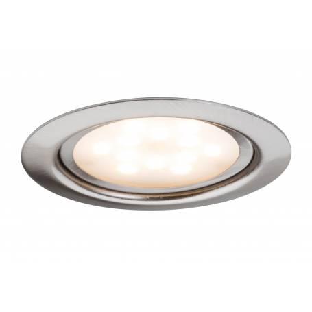 Spot led encastrable extra plat pour meuble rond 65mm acier brossé 4,5W