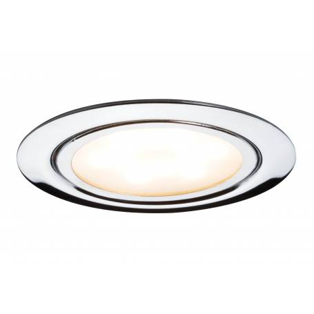 Lot de 3 spots led encastrables extra plat pour meuble rond 65mm chrome 4,5W