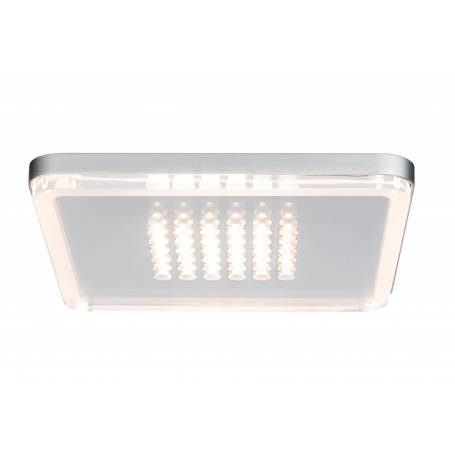 Plafonnier led carré chrome mat 10W points lumineux dimmable
