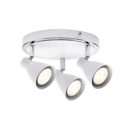 Plafonnier rond blanc et chrome 3 spots led GU10 3,5W blanc chaud orientable