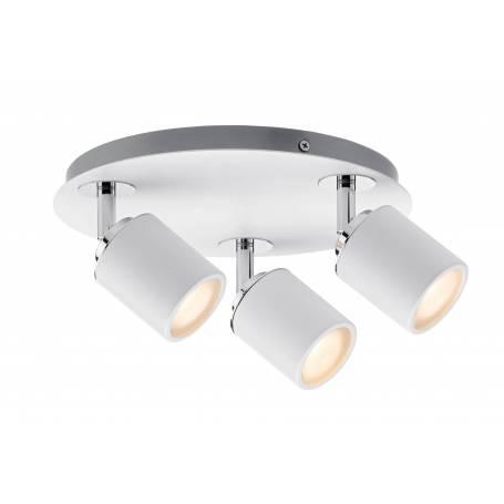 Plafonnier 3 spots led 3,5W rond blanc et chrome pour salle d'eau IP44 orientable tube