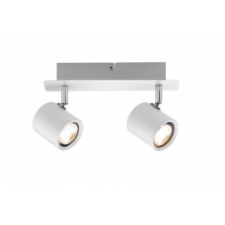 Plafonnier 2 spots led 3,4W long blanc et chrome orientable Naipl