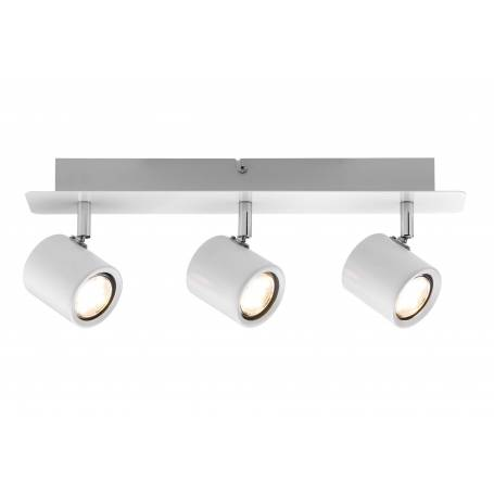 Plafonnier 3 spots led 3,4W long blanc et chrome orientable Naipl