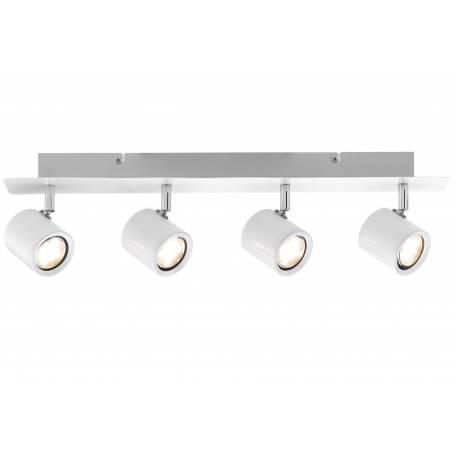 Plafonnier 4 spots led 3,4W long blanc et chrome orientable Naipl