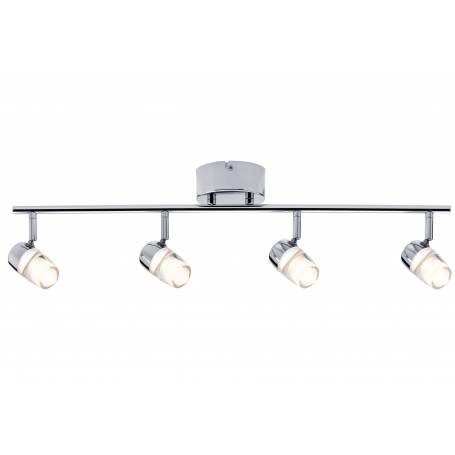 Plafonnier long 4 spots orientable led 3,2W chrome et tube acrylique transparent