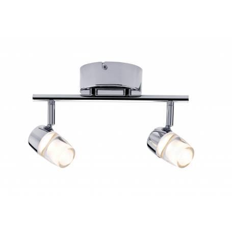 Plafonnier long 2 spots orientable led 3,2W chrome et tube acrylique transparent