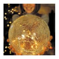boule verre craquelés lumineuse led ambres guirlande or