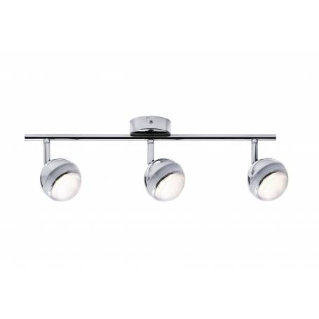 Plafonnier long 3 spots led orientable globe chromé blan chaud 4,6W