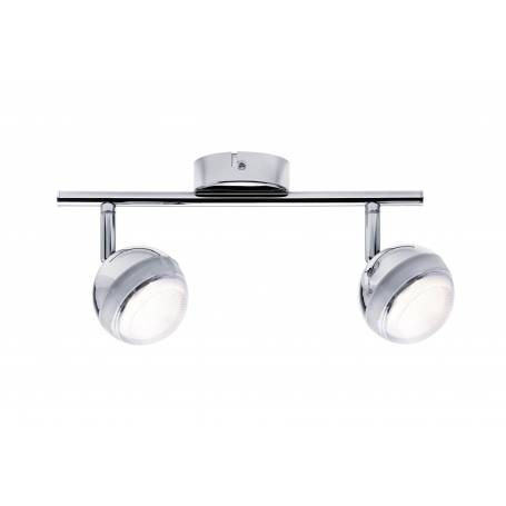 Plafonnier long 2 spots led orientable globe chromé blan chaud 4,6W
