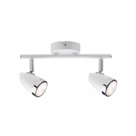 Plafonnier 2 spots led GU10 3,5W blanc et chrome orientable blanc chaud toor
