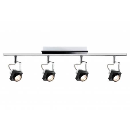 Plafonnier 4 spots projecteur cinéma noir sur rail 5W orientable