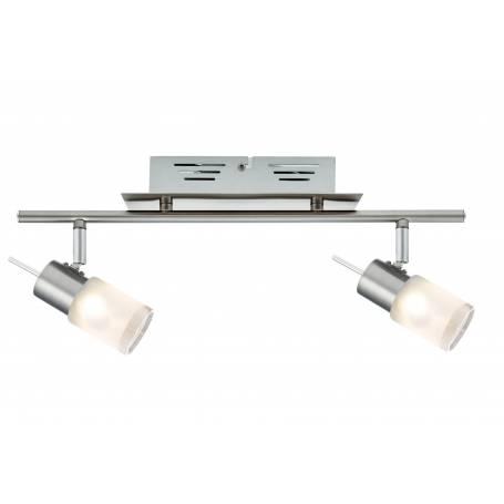 Plafonnier 2 spots led cylindres verre opaque acier brossé 3w orientable blanc chaud