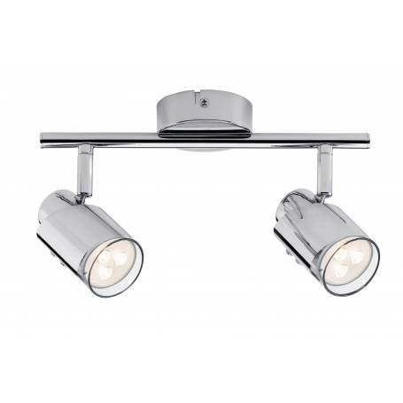 Plafonnier 2 spots led design chrome et verre orientable 3,5W