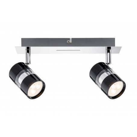 Plafonnier 2 spots led cylindre noir chrome et verre 3,5w orientable
