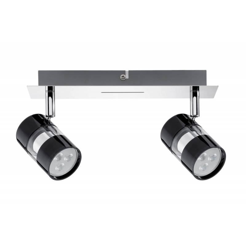 Cylindre Et Plafonnier Led Noir Verre Chrome 2 Spots Orientable 3 5w SMUzjLqVGp