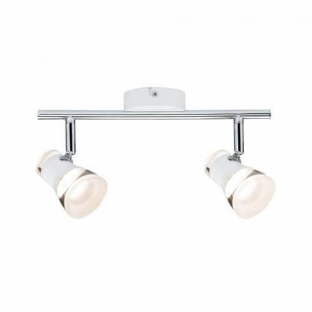 Plafonnier 2 spots LED orientable blanc et chrome blanc chaud 9w