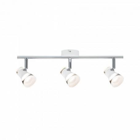 Plafonnier 3 spots LED orientable blanc et chrome blanc chaud 13w
