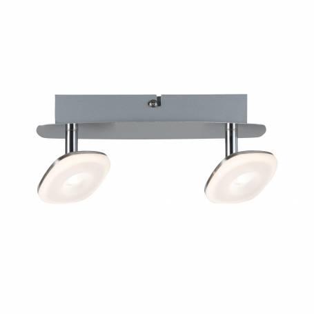 Plafonnier 2 spots LED carrés orientable métal blanc chaud professionnelle
