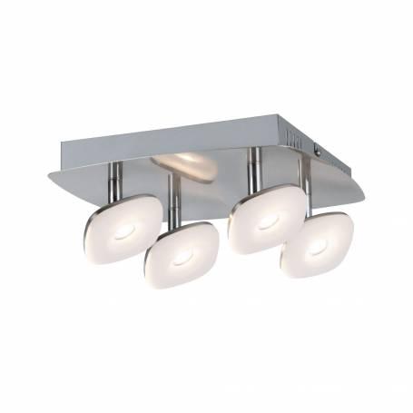 Plafonnier carré 4 spots LED carrés orientable métal blanc chaud professionnelle