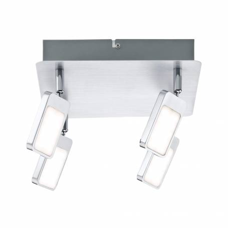 Plafonnier carré 4 spots palet lumineux LED blanc chaud chrome