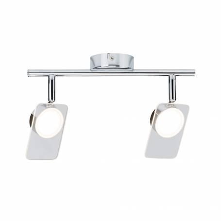 Plafonnier 2 spots rectangle chromé 5w blanc chaud orientable