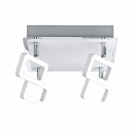 Plafonnier design carré 4 spots LED rectangle ajouré 4,5W blanc chaud
