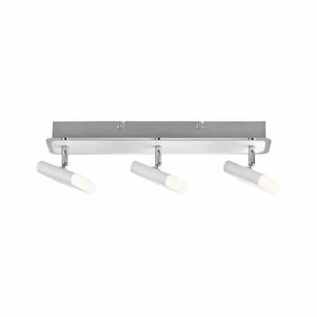 Plafonnier 3 spots LED rectangle design blanc et chrome 4.5W