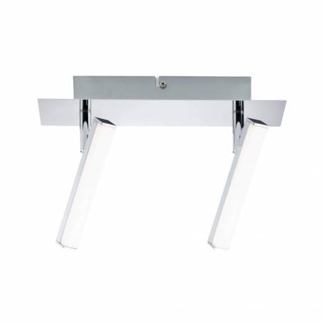 Plafonnier 2 spots LED rectangle long chrome et blanc 4w