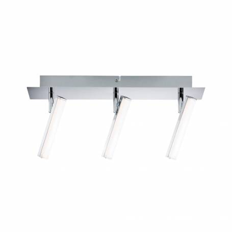 Plafonnier 3 spots LED rectangle long chrome et blanc 4w